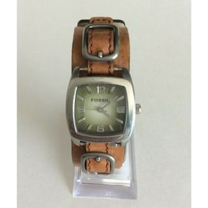 Fossil Watch Green Silver Square Face Leather Band